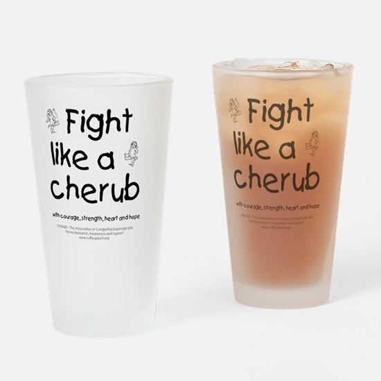 fightlikeacherubonwhite Drinking Glass