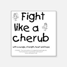 "fightlikeacherubonwhite Square Sticker 3"" x 3"""