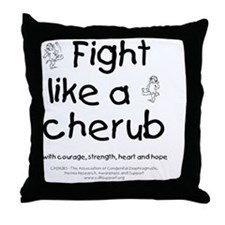 fightlikeacherubonwhite Throw Pillow
