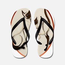 Two Siamese Cats Oval Trans Flip Flops