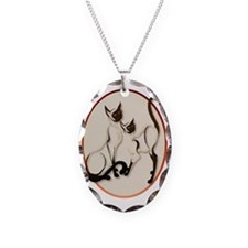 Two Siamese Cats Oval Trans Necklace