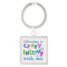Grandpa Loves Me Square Keychain
