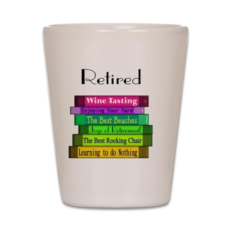 Retired book Stack 2 Shot Glass