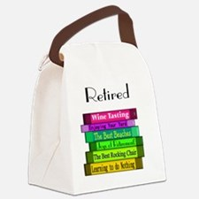 Retired book Stack 2 Canvas Lunch Bag