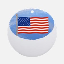 July 4 T-Shirts, US, American Flag Round Ornament