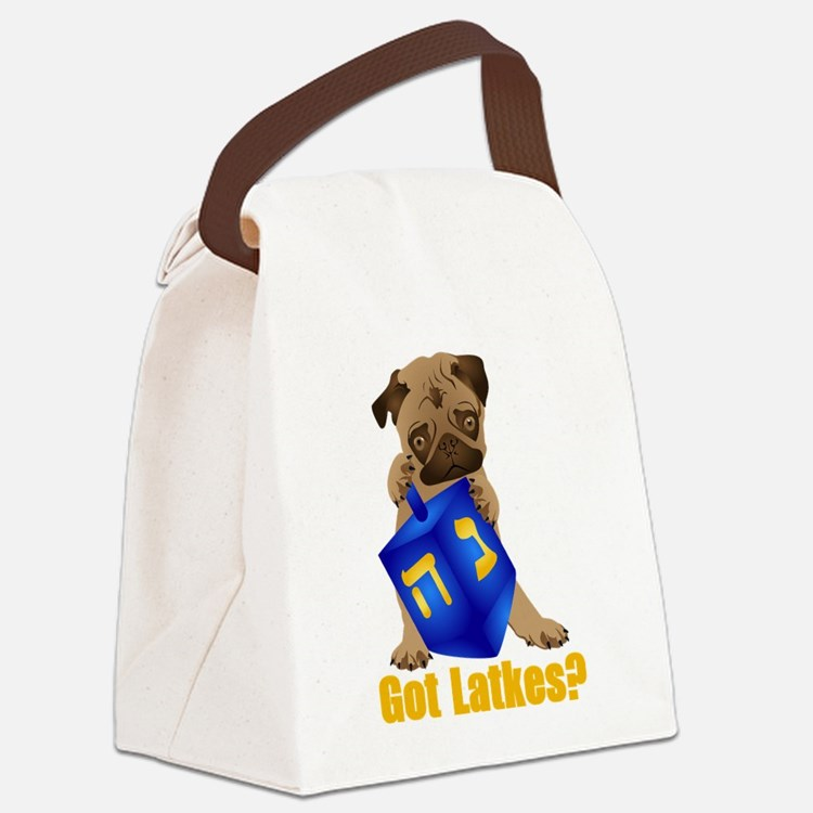 Got Latkes? Pug with Dreidel Canvas Lunch Bag