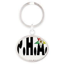 PHA-w-star2-plussize Oval Keychain