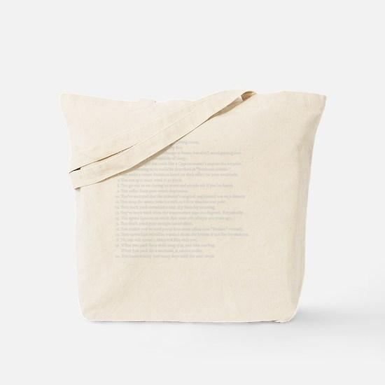 Reenacting Signs White Tote Bag