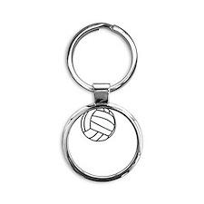 Volleyball Court White Round Keychain