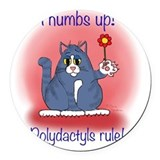 Polydactyl cat Round Car Magnets