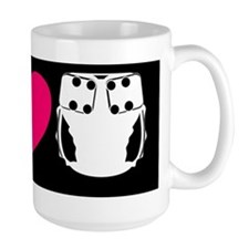 peacelovecloth 2 black bg pink heart Mug
