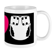 peacelovecloth 2 black bg pink heart c Mug