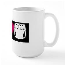 peacelovecloth 2 black bg pink heart c Mug