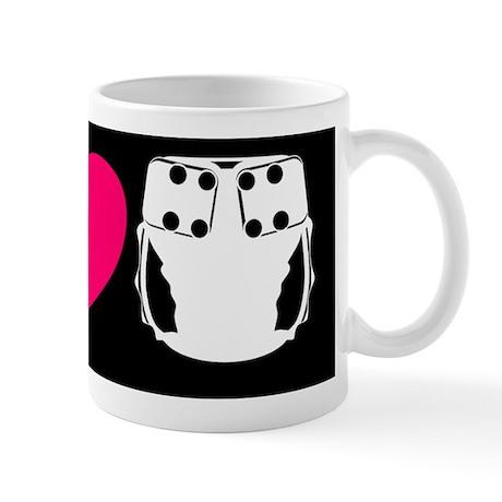 peacelovecloth 2 black bg pink heart d Mug
