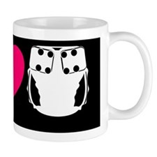 peacelovecloth 2 black bg pink heart e Mug