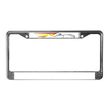 Racing Car with Flag tee License Plate Frame