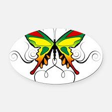 Reggae Butterlfy 6x6 Oval Car Magnet