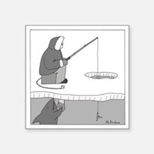 "Ice Fishing Square Sticker 3"" x 3"""