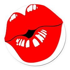 Luscious Lips Round Car Magnet