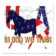 "In God We Trust 2 Square Car Magnet 3"" x 3"""