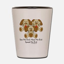 hearnoevilpuppyCIRCLE Shot Glass