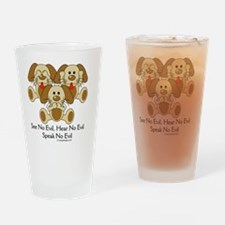hearnoevilpuppyCIRCLE Drinking Glass