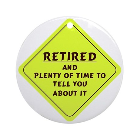 Retired Caution Sign Round Ornament