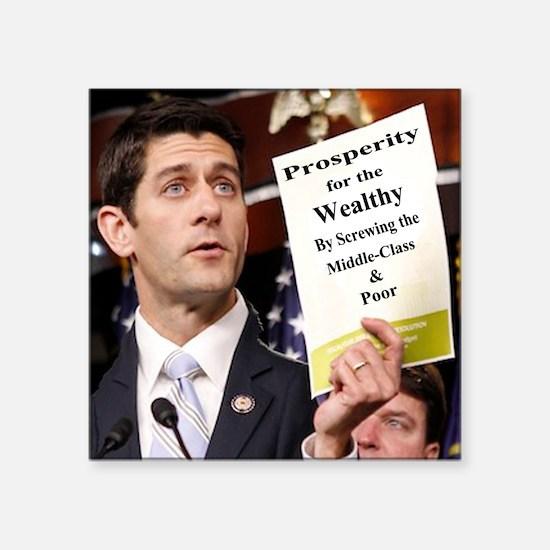 "Paul Ryan Screw Working Cla Square Sticker 3"" x 3"""