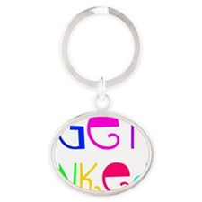 colorful get inked 1 Oval Keychain