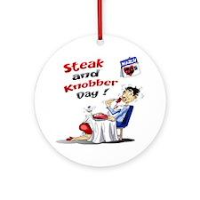 Steak and Knobber Day Logo Round Ornament