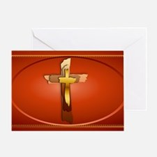 Wall Peel Three Rugged Crosses Oval Greeting Card