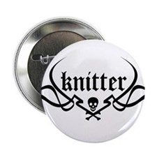 Knitter - skull pinstriping Button