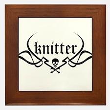 Knitter - skull pinstriping Framed Tile