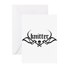 Knitter - skull pinstriping Greeting Cards (Packag