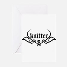 Knitter - skull pinstriping Greeting Cards (Packag
