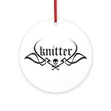 Knitter - skull pinstriping Ornament (Round)