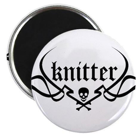 Knitter - skull pinstriping Magnet