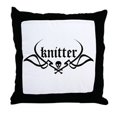Knitter - skull pinstriping Throw Pillow