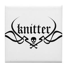 Knitter - skull pinstriping Tile Coaster