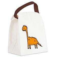 Orange Dino Monster Canvas Lunch Bag