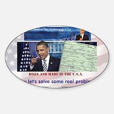 AD-Obama-Birth-Cert-solve-flag-lg Sticker (Oval)