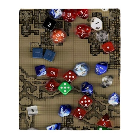 Dice and Dungeon Map Background Throw Blanket