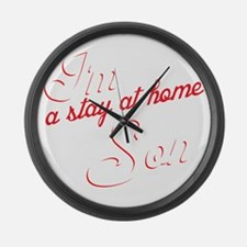 Stay at home son-1 Large Wall Clock