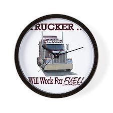 Red Peterbilt(Trucker..Will Work For FU Wall Clock
