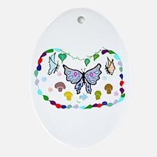 Mingling Butterflies Oval Ornament