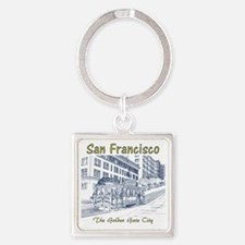 SanFrancisco_CableCar_10x10_bag_Bl Square Keychain
