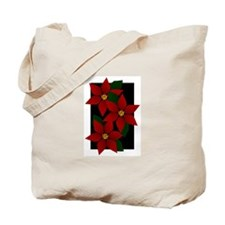 Red Poinsettia Christmas Holiday Tote Bag