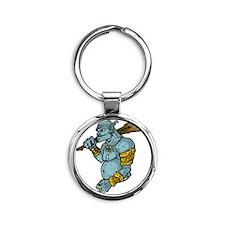 Blue Troll with Club Round Keychain