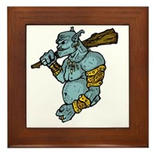 Blue Troll with Club Framed Tile