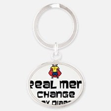 Reap Men change poopy diapers Oval Keychain